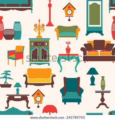 Vintage style home living furniture seamless pattern background - Illustration