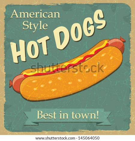 Vintage style hot dog, food concept advertising, vector illustration - stock vector
