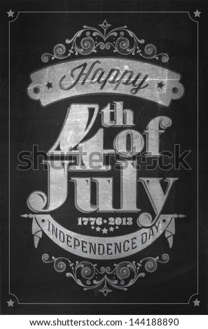 Vintage Style Independence Day poster with the wording : Happy 4th of July 1776-2013, Independence Day - stock vector