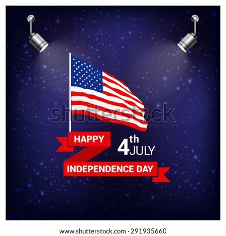 Vintage style Independence Day poster with the wording: July 4th, Happy Independence Day, United state of America USA independence day waving flag poster set. spotlights on flag Blue Mosaic background - stock vector