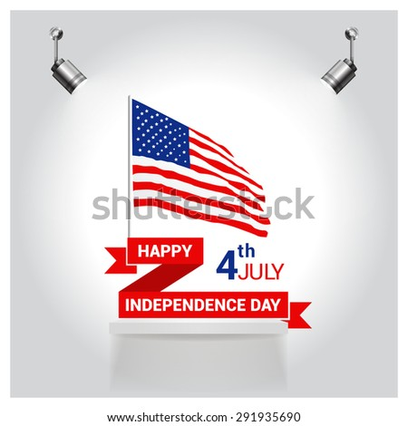Vintage style Independence Day poster with the wording: July 4th, Happy Independence Day, United state of America USA independence day waving flag poster set. spotlights on flag Gray Mosaic background - stock vector