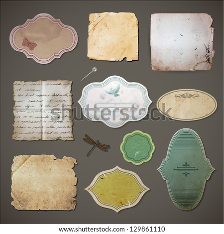 Vintage style labels and old paper sheets set - eps10 - stock vector