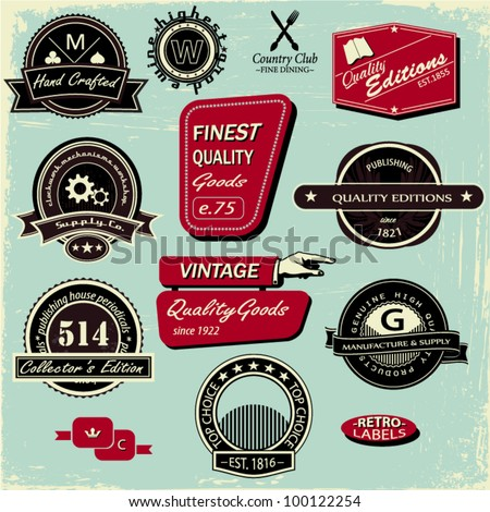 Vintage Style Labels, Set of 12 signs and badges - stock vector