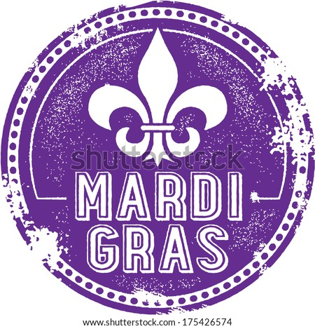 Vintage Style Mardi Gras Celebration Stamp - stock vector