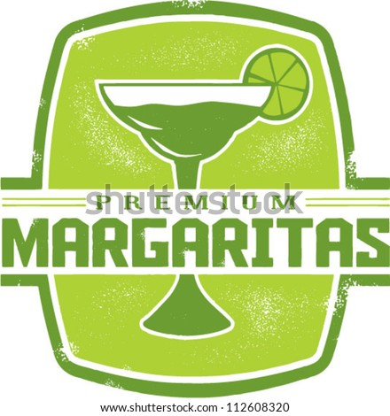 Vintage Style Mexican Margarita Cocktail Stamp - stock vector