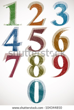 Vintage style numbers typeset, classic shaped symbols with sketch lines texture, vector. - stock vector