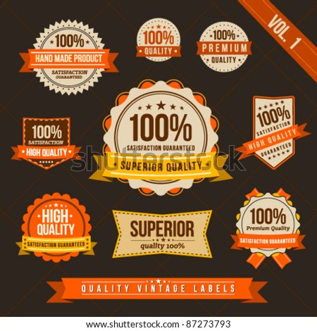 Vintage style of orange and brown label badge sticker collection - stock vector