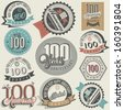 Vintage style One Hundred anniversary collection. Retro Hundred anniversary design. Vintage labels for anniversary greeting. Hand lettering style typographic and calligraphic symbols for Centenary  - stock photo