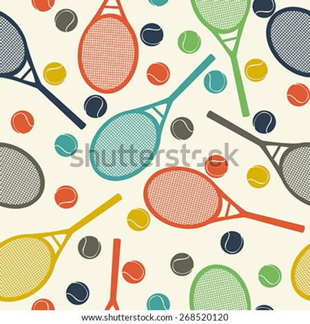 Vintage style pattern design with racket and tennis ball - stock vector