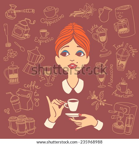 Vintage style portrait of red haired young woman holding coffee cup in one hand and saucer in another hand, surrounded by coffee doodles. Vector illustration - stock vector