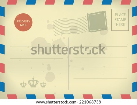 Vintage style postcard template with blank stamps  - stock vector