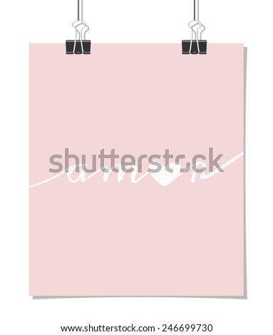 """Vintage style poster for Valentine's Day with the word """"amor"""" - Spanish for """"love"""" on a baby pink background. Poster design mock-up with paper clips, isolated on white. - stock vector"""