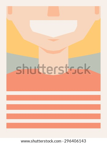 Vintage  style poster of smiling girl  in striped shirt in retro colors, happy child.