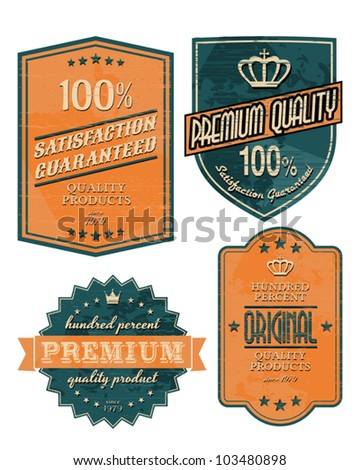 Vintage style premium quality labels in orange and blue. - stock vector