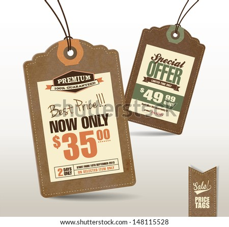 Vintage Style Price Tags Design  - stock vector