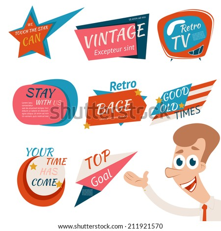 Vintage Style Retro Badges and Emblems  Isolated on White Background. - stock vector