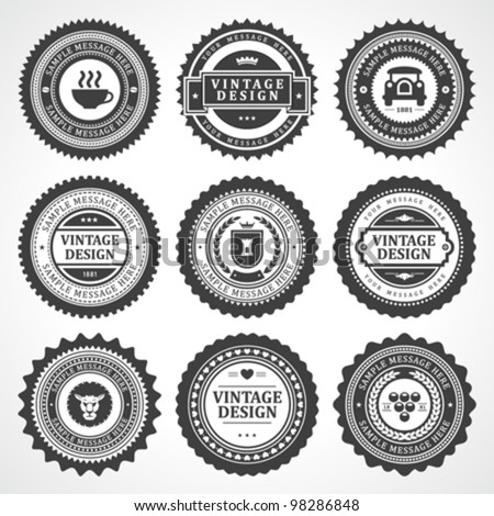 Vintage style retro emblem label big collection. Vector design elements. - stock vector