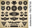 Vintage style retro emblem label collection. Vector design elements. - stock vector
