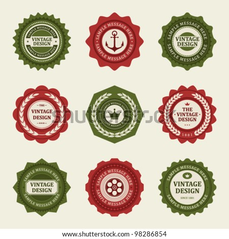 Vintage style retro emblem label collection. Vector design elements. - stock vector