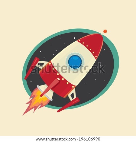 vintage style retro poster of Space rocket in space. vector illustration - stock vector