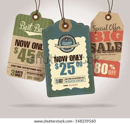 Vintage Style Sale Tags Design  - stock vector