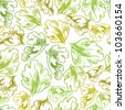 Vintage style seamless background with leaves, perfect vector wallpaper or web background pattern. - stock vector