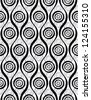 Vintage style seamless wallpaper, monochrome vector background. - stock photo