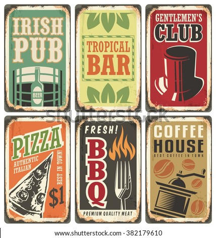 Vintage style signs. Retro metal signs vector set. Irish pub, pizzeria, tropical bar, gentlemen s club, barbecue, coffee house. Without drop shadow, transparency and gradients, only fill colors. - stock vector
