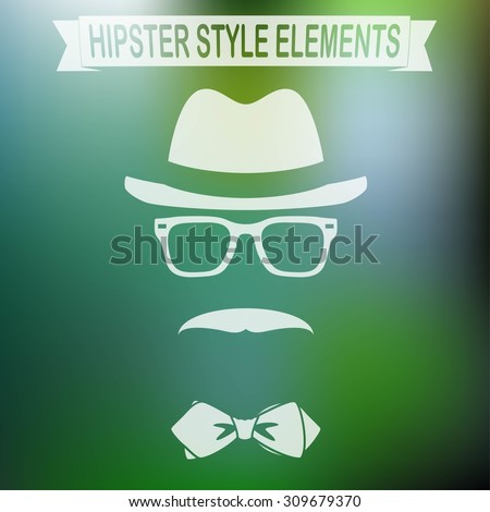 Vintage style silhouette of hat, mustaches, glasses and a bow tie. - stock vector