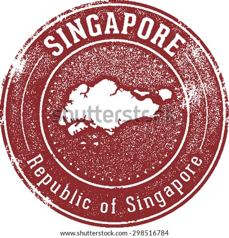 Vintage Style Singapore Country Stamp - stock vector