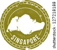Vintage Style Singapore Travel Stamp - stock vector