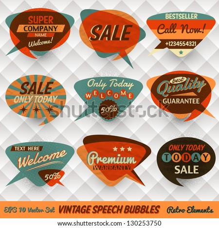 Vintage Style Speech Bubbles Cards - stock vector