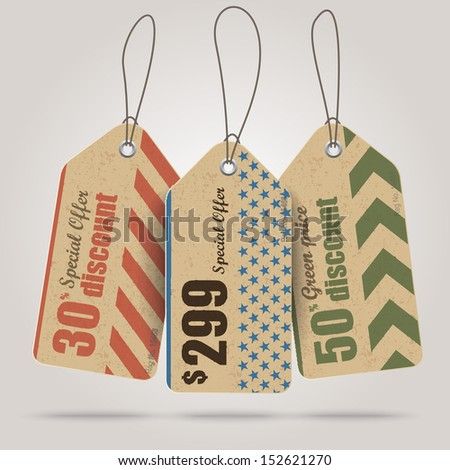Vintage Style Tags - stock vector