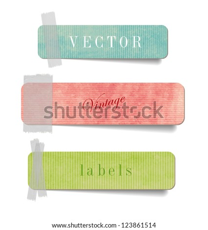 Vintage style textured colored paper cardboard labels with sticky tape - stock vector