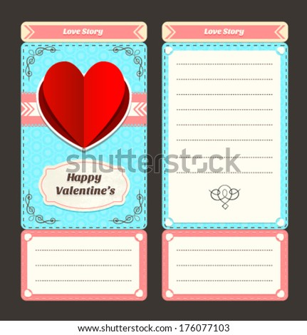 Vintage style Ticket valentine Day Invitation Template