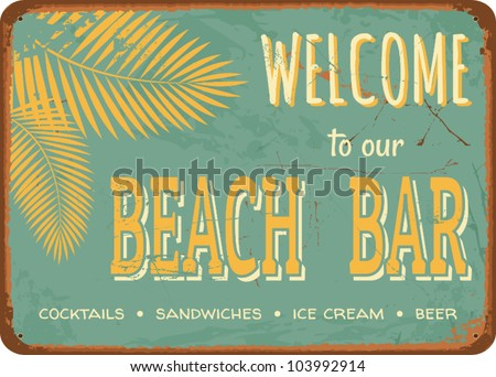 "Vintage style tin sign ""Beach Bar"". - stock vector"