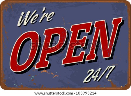 """Vintage style tin sign """"Open"""". - stock vector"""