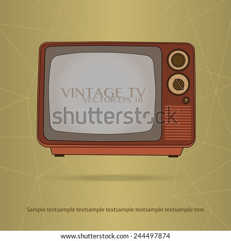 vintage style tv and background - stock vector