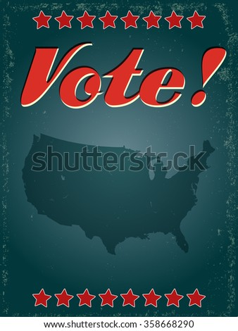 Vintage style USA voting poster - stock vector