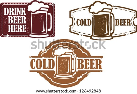 Vintage Style Vector Beer Stamps - stock vector