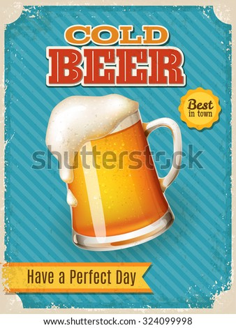 Vintage style vector Cold Beer poster. High detailed vector beer mug illustration. - stock vector