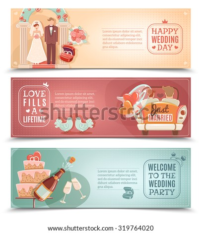 Vintage style wedding day party for just married couple flat horizontal banners set abstract isolated vector illustration - stock vector