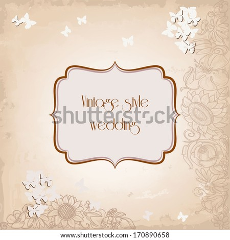 Vintage style wedding invitation, old paper background, floral and butterfly decoration