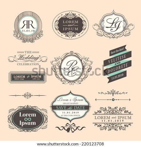 Vintage Style Wedding symbol border and frames - stock vector