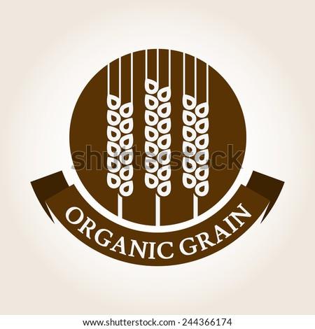 Vintage style wheat label. Vector logo design template. Organic grain icon. - stock vector