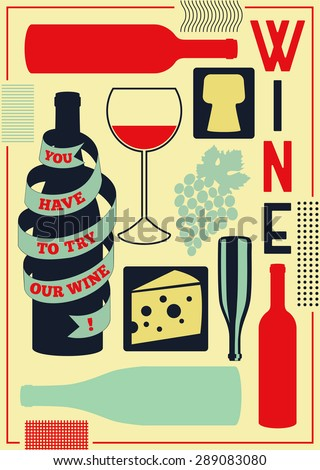 Vintage style wine poster. Retro vector illustration. - stock vector