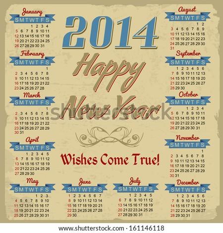 Vintage styled 2014 calendar, vector illustration - stock vector