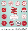 Vintage Styled Christmas and New Year Label Collection - stock vector