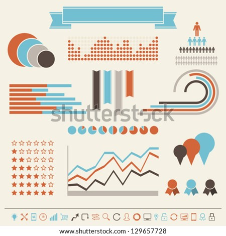 Vintage styled infographics elements. - stock vector