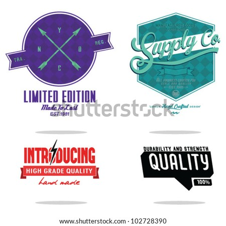 Vintage Styled Label collection design. - stock vector